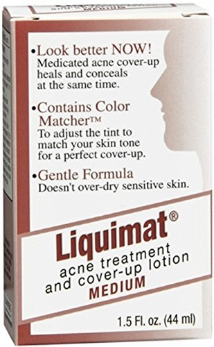Liquimat Acne Treatment and Cover-Up Lotion, Medium, 1.5 Ounce (Medicated Concealer)