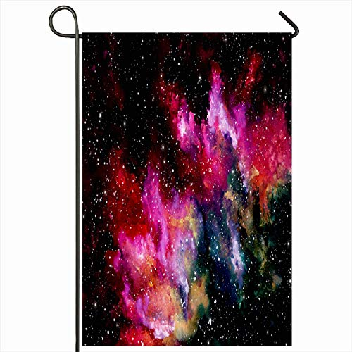 Ahawoso Garden Flag 12x18 Inches Splash Astrology Outer Space Bright Pink Clouds Watercolor Abstract Astronomy Celestial Cosmos Dark Outdoor Decorative Seasonal Double Sided Home House Yard Sign ()