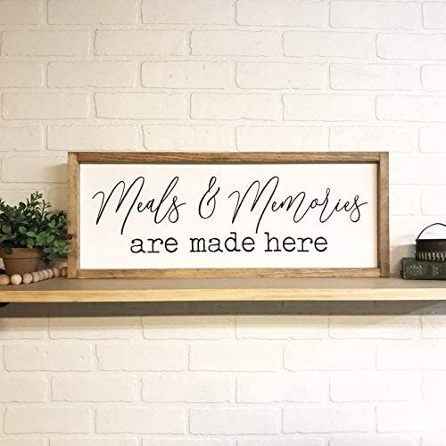 Meals and Memories are Made Here Framed Wood Sign Custom Home Decor Modern Farmhouse Style Gift Idea Housewarming Kitchen Wall Sign