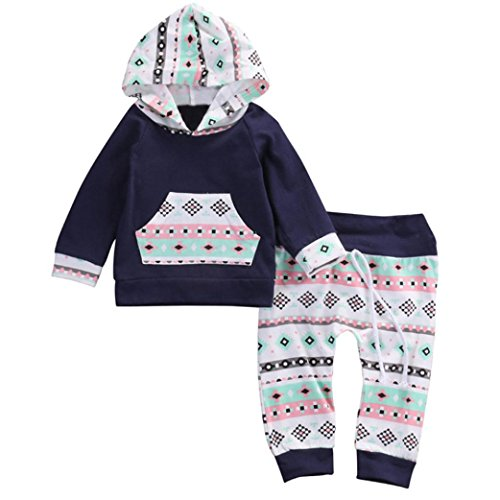Lanpan Toddler Infant Baby Girl Boy Clothes Set Geometric Hooded Tops+Pants Outfits (3M)