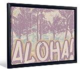 JP London Framed Hawaii Surf Vintage Aloha Palm Tree Sign Gallery Wrap Heavyweight Canvas Art Wall Decor, 20.375'' High x 26.375'' Wide x 1.25'' Thick