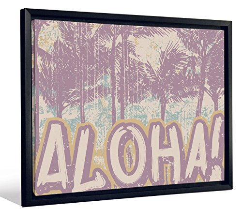 JP London Framed Hawaii Surf Vintage Aloha Palm Tree Sign Gallery Wrap Heavyweight Canvas Art Wall Decor, 20.375'' High x 26.375'' Wide x 1.25'' Thick by JP London