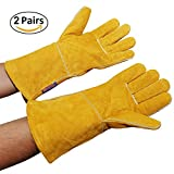 Centurion GL004 All Leather Welding Gloves, 2 Pairs – 5 inch long cuffs