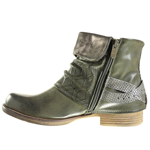 3 Women's Block biker CM Booty Ankle snakeskin Heel cavalier Fashion Shoes Green studded thong Angkorly boots qdOgq6
