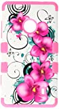 MYBAT TUFF Hybrid Phone Protector Cover for Nokia Lumia 521 - Retail-Packaging - Morning Petunias/Electric Pink
