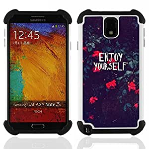 GIFT CHOICE / Defensor Cubierta de protección completa Flexible TPU Silicona + Duro PC Estuche protector Cáscara Funda Caso / Combo Case for Samsung Galaxy Note 3 III N9000 N9002 N9005 // Motivational Summer Flowers //