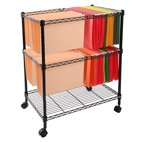 Finnhomy Supreme 2-Tier Metal Rolling File Cart Mobile Filing cart for Letter Size and Legal Size Folder, Black