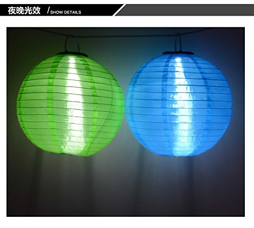 2PCS/set 30cm Hanging Oriental waterproof for Wedding Party home garden Decoration ,Solar Powered 1W LED Light Bulbs Chinese Nylon Fabric lantern and AA Battery (Blue) by Zhongpai (Image #7)