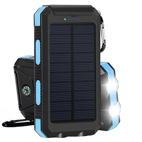 Solar Charger, Solar Power Bank 20000mAh External Backup Battery Pack Dual USB Solar Panel Charger with 2LED Light Carabiner Compass Portable for Emergency Outdoor Camping Travel (Dark Blue)