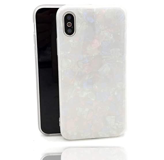 the latest 53e97 4ca80 HUIYCUU Case Compatible with iPhone Xs Max Case, Glitter Sea Shell Pearl  Design Shockproof TPU Soft Matte Cover for Girls Colorful Floral Bumper  Skin ...
