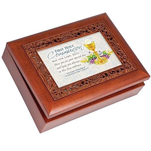 Collection Rosary Box - Cottage Garden First Communion Boy Rich Woodgrain Finish Ornate Inlay Jewelry Music Box - Plays How Great Thou Art