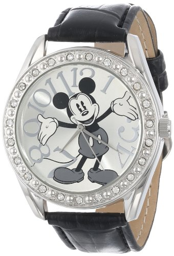 - Disney Unisex MK1015 Mickey Mouse Silver Dial Black Crocodile Strap Watch