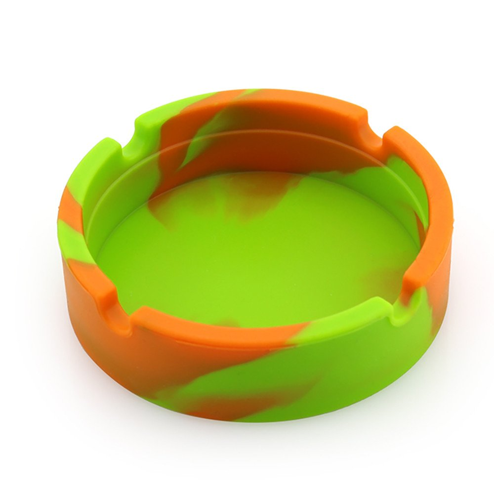 Luminous Ashtray,WensLTD Premium Silicone Rubber High Temperature Heat Resistant Round Design Ashtray (Orange)