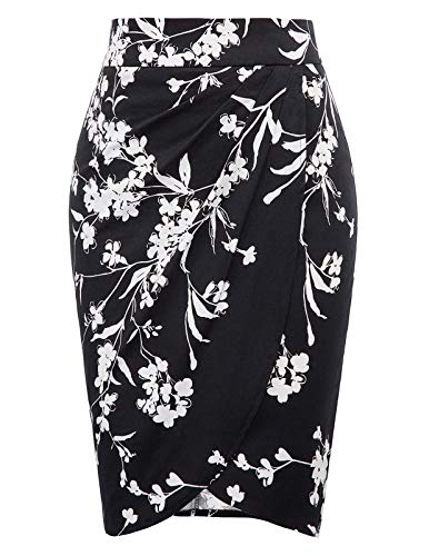 (Belle Poque Wear to Work Wrap Ruched Pencil Skirts Medium, Floral-3 )