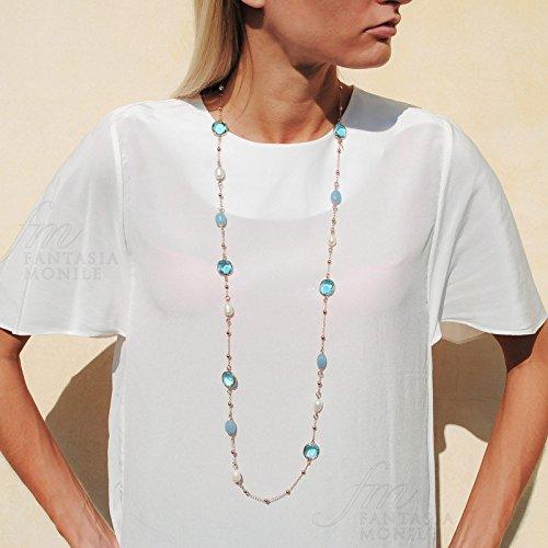 Collier Femme Printemps Iridescent pierres Angelite cristal perles Laiton souverains J1964