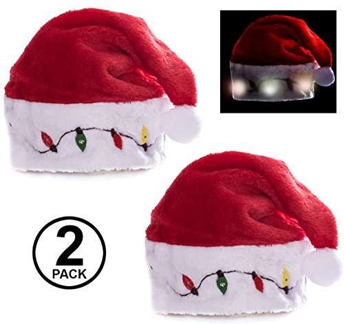 Blinking Santa Hats - Plush Santa Hats - LED Light Up Hats - Christmas Hats - (2 Pack) Holiday Hats Adult Plush Santa Hat