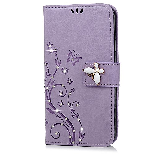 S5 Case, Samsung Galaxy S5 Case - Mavis's Diary 3D Handmade Wallet Bling Crystal Diamonds Butterfly Fashion Embossed Floral Premium PU Leather with Wrist Strap Card Slots Magnetic Clasp Cover - Violet (Dollar Cases For Galaxy S5)