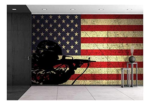 wall26 - a Silhouette of a Soldier on The Grunge American Flag - Removable Wall Mural | Self-Adhesive Large Wallpaper - 100x144 inches