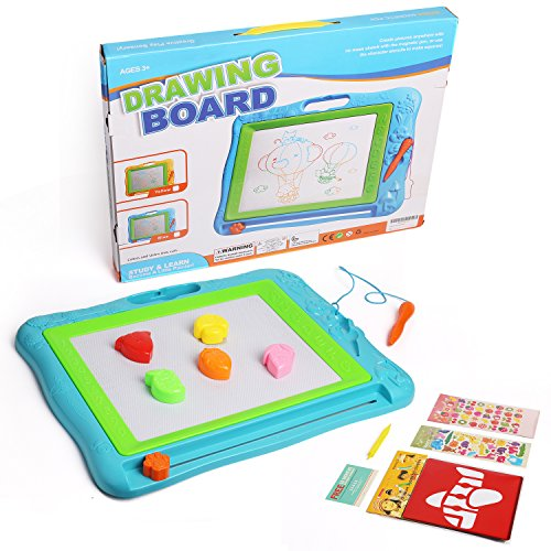 51U%2BNdHQbHL - JOYNOTE Large Magnetic Drawing Board for Kids, Colorful Magnet Writing Sketching Pad,Education Toys for Toddlers Learning with 5 Shape Stamps,6 Copy Cards,1 Replacement Pen and 2 Lovely Sticker