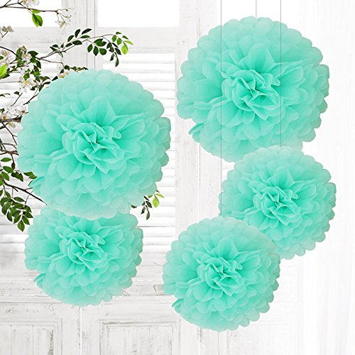 5er SET Tissue Paper Pom-Poms Flower Mint Blue for Holiday, Anniversary, Birthday, Graduation, Wedding, Bridal & Baby Parties. Outdoor & Indoor Party Decorations