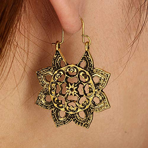 Design Screw Back Earrings (Traditional Indian Chandbali Kundan Hoop Earrings with Gold Plating Ethnic Jewelry for Girls -Tribal Bohemian Chic Bollywood Pretty Fringes and Floral Theme Ethnic Bridal Designer Jewelry (Gold))