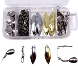 91pcs spinner replacement blades and Swivel and Baitkeeper tackle box Kit