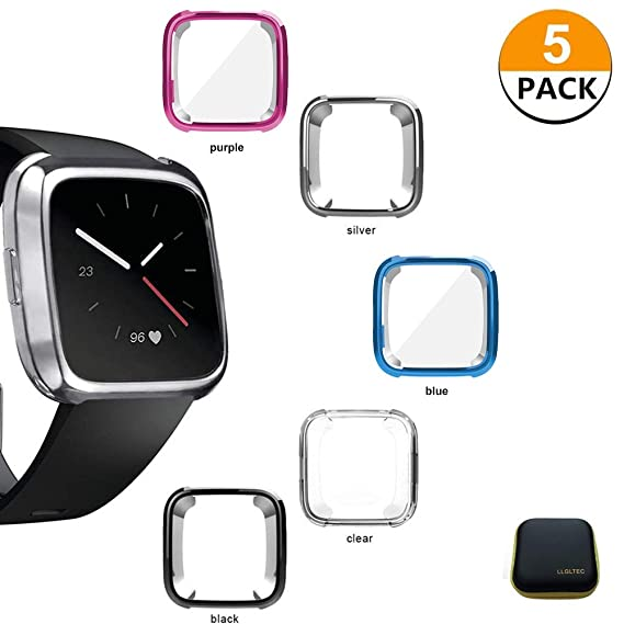 LLGLTEC [5-Pack] Compatible with Smartwatch Cases Screen Protector Case Soft TPU Plated Case Full Protective Bumper Shell Cover for Fitbit Versa Smart ...