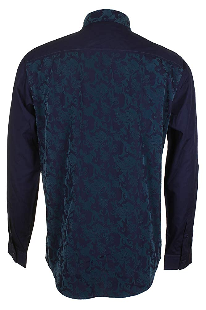 Inc International Concepts Navy Teal Textured Damask Collared Button Down Shirt