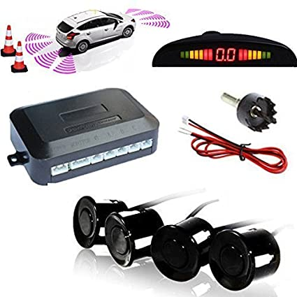 TKOOFN Highly Sensitive Buzzer Safety Alert Car Reverse Back Up Radar Detector System with 4 Ultrasonic Parking Sensors & LED Display for Universal Auto Vehicle - Red M04003-03