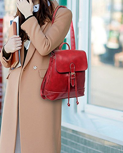 Damen Leder Rucksäcke Schulrucksack+Umhängetasche+Geldbörse Grün Rot