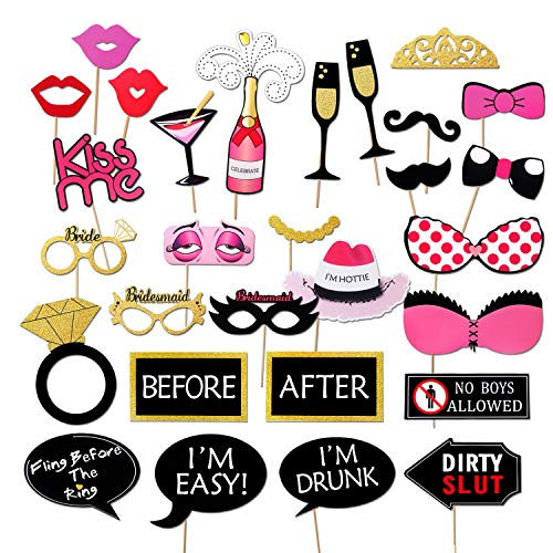 Konsait Girls Night Out Games Decoration Dress Up Accessories for Wedding (30 Count) Bachelorette Party Photo Booth Props Kit, -