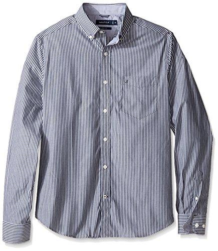 Tencel Shirt Dress (Nautica Men's Wrinkle Resistant Classic Fit Vertical Stripe Ls Dress Shirt, Maritime Navy,)