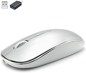 Wireless Mouse for MacBook pro/MacBook Air/MacBook Mac/Windows Laptop/Notebook/pc,Wireless Mouse for Laptop MacBook Pro/Air (USB2.4G Wireless Mouse/Silver)