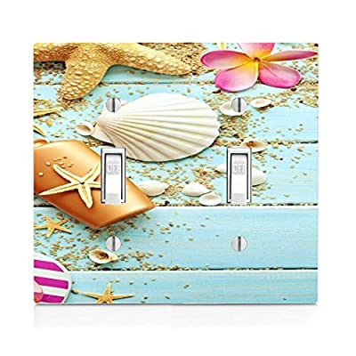Sea Shells Pattern Print Image Design Double Light Switch Plate: Home & Kitchen