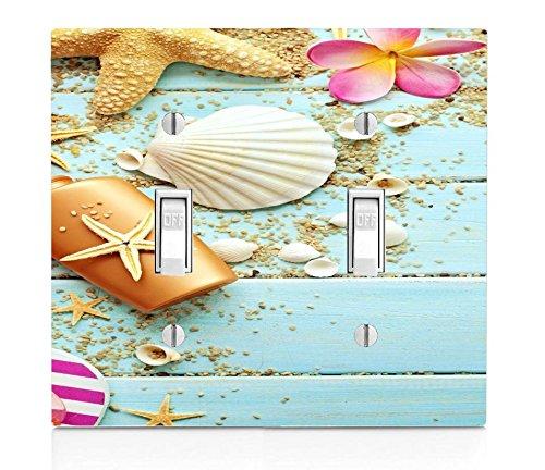 Sea Shells Pattern Print Image Design Double Light Switch ()