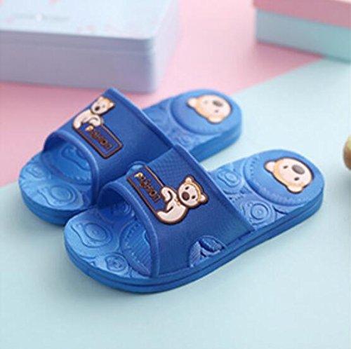 SUxian Creative Baby Cartoon Bear Summer Slippers Bathroom Slippers Non-slip Durable Slippers Sandals (Color : Dark Blue, Size : 190) Dark Blue