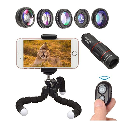 【2018 New Product】APEXEL Phone Camera Lens with 18x Telephoto Lens+Fisheye,Macro/Wide Angle Lens+Star,Kaleidoscope Filter+Tripod and Shutter 8 in 1 Cell Phone Lens Kit for iPhone and other Smartphone from Apexel