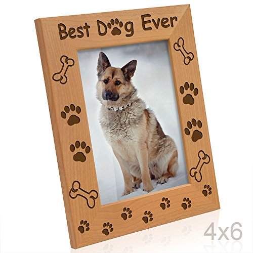 Kate Posh - Best Dog Ever - Dog Paws and Bones Engraved Picture Frame (4x6-Vertical) - Dog Bone Picture Frame