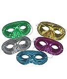 Fun Central (P964, 24 Pcs, Assorted Metallic Half Masks, Masquerade Ball Masks, Mardi Gras Carnival Masks, Halloween Party Favors, Kids Costume Party Accessory Decoration