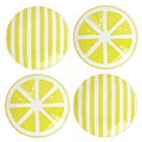 Kate Spade New York Charlotte Street Dinnerware With A Twist Yellow Porcelain Tidbit Appetizer Plates, 5.5