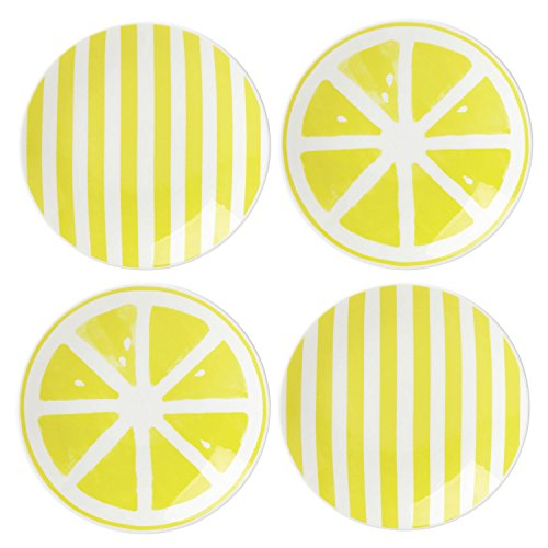 (Kate Spade New York Charlotte Street Dinnerware With A Twist Yellow Porcelain Tidbit Appetizer Plates, 5.5