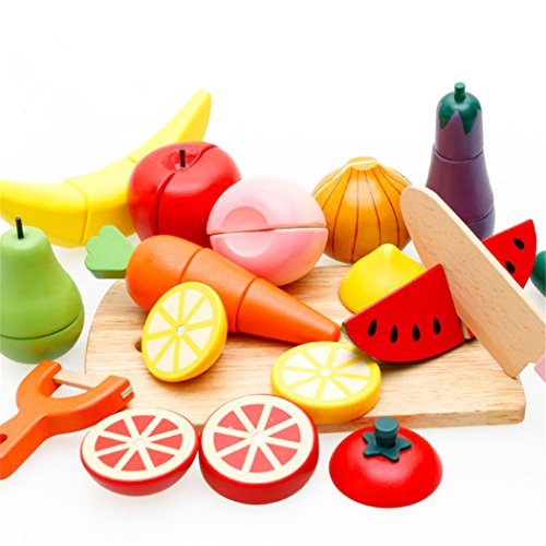 Joyeee Wooden Cutting Fruit & Vegetable Set with Magnetic Food - Children Toddler Pretend Wood Play Food Set Toys for Child 3 Year and Up - Perfect Christmas Gift (Dinner Toy)