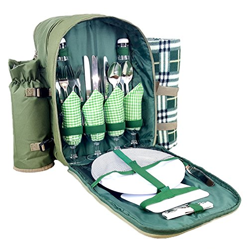 Cheapest Price! Bring Along Picnic Backpack for 4 Persons, With Cooler Compartment, Detachable Bottl...