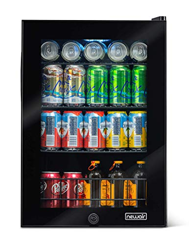NewAir Beverage Refrigerator and Cooler 90 Can Capacity, Mini Fridge Perfect for Soda Beer Wine with Glass Door, AB-850B Black