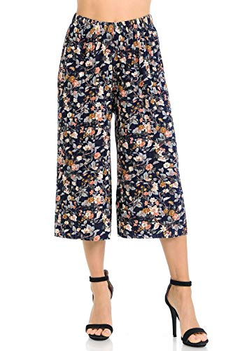 Auliné Collection Womens Pleated High Waist Wide Leg Cropped Capri Culotte Pants - Vintage Floral