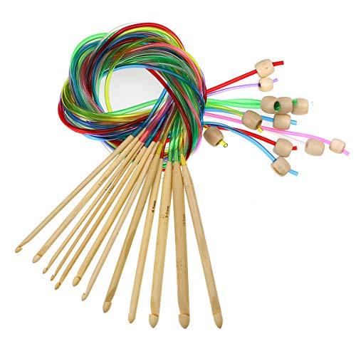 Flexible Tunisian Crochet Hook - KOKNIT Set of 12 Size Tunisian Afghan Crochet Hook Set with Plastic Cable Carbonized Bamboo Knitting Needles Weaving Carpet Rugs Blanket 3.0mm(D)-10.0mm(N)