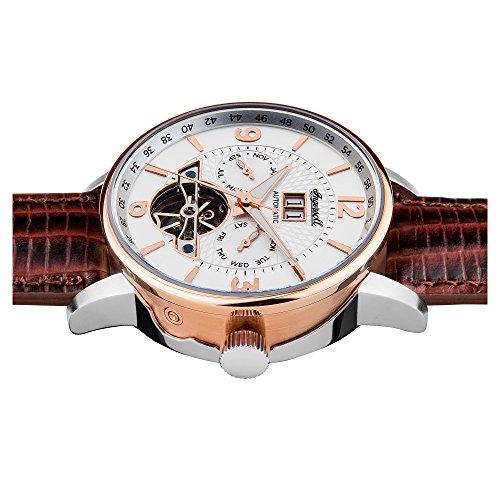 Ingersoll herr grafton automatisk klocka med vit urtavla och brun läderrem I00701