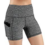 ODODOS High Waist Out Pocket Yoga Shots Tummy Control Workout Running 4 Way Stretch Yoga Shots, GrayHeather, X-Large
