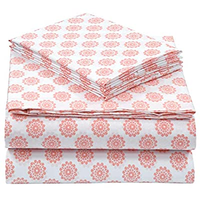 "Pieridae Cotton Rich 4 Pc Sheet Set - Queen, Coral Global Dots - 200-Thread-Count 55% Cotton 45% Polyester Sheet Set provides soft and smooth comfort for a blissful night's sleep Deep pockets fits mattress upto 12"" deep. Flat sheet with 3"" top hem. Pillow Cases with 3"" hem at opening. All around elastic for a snug feeling. Queen Size includes 1 Fitted Sheet 60 x 80"" and Fits Mattresses up to 12"" deep, 1 Flat Sheet 92 x 102"", 2 Pillowcases 20 X 30"" Machine wash cold, gentle cycle, wash separately or with like colors, do not bleach, tumble dry low, warm iron if needed. - sheet-sets, bedroom-sheets-comforters, bedroom - 51U%2BQVN5i6L. SS400  -"