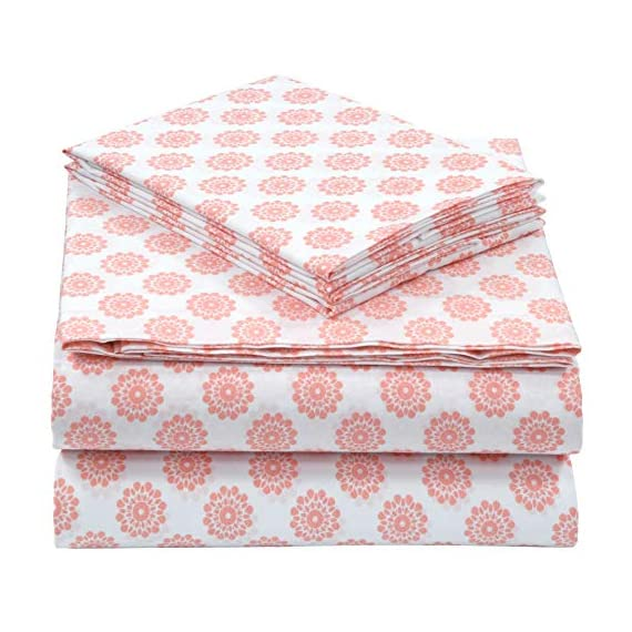 "Pieridae Cotton Rich 4 Pc Sheet Set - Queen, Coral Global Dots - 200-Thread-Count 55% Cotton 45% Polyester Sheet Set provides soft and smooth comfort for a blissful night's sleep Deep pockets fits mattress upto 12"" deep. Flat sheet with 3"" top hem. Pillow Cases with 3"" hem at opening. All around elastic for a snug feeling. Queen Size includes 1 Fitted Sheet 60 x 80"" and Fits Mattresses up to 12"" deep, 1 Flat Sheet 92 x 102"", 2 Pillowcases 20 X 30"" Machine wash cold, gentle cycle, wash separately or with like colors, do not bleach, tumble dry low, warm iron if needed. - sheet-sets, bedroom-sheets-comforters, bedroom - 51U%2BQVN5i6L. SS570  -"